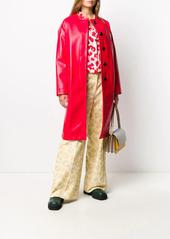 Marni collarless faux-leather coat