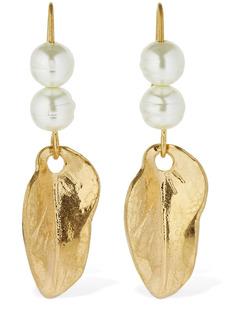 Marni Leaf & Imitation Pearl Drop Earrings