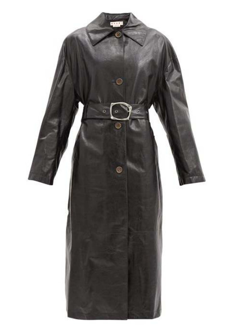 Marni Belted leather trench coat