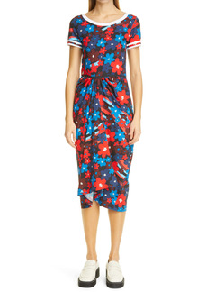 Marni Fitted Rainbow Floral Print Jersey Dress