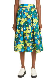 Marni Floral Print Pleated Cotton Skirt