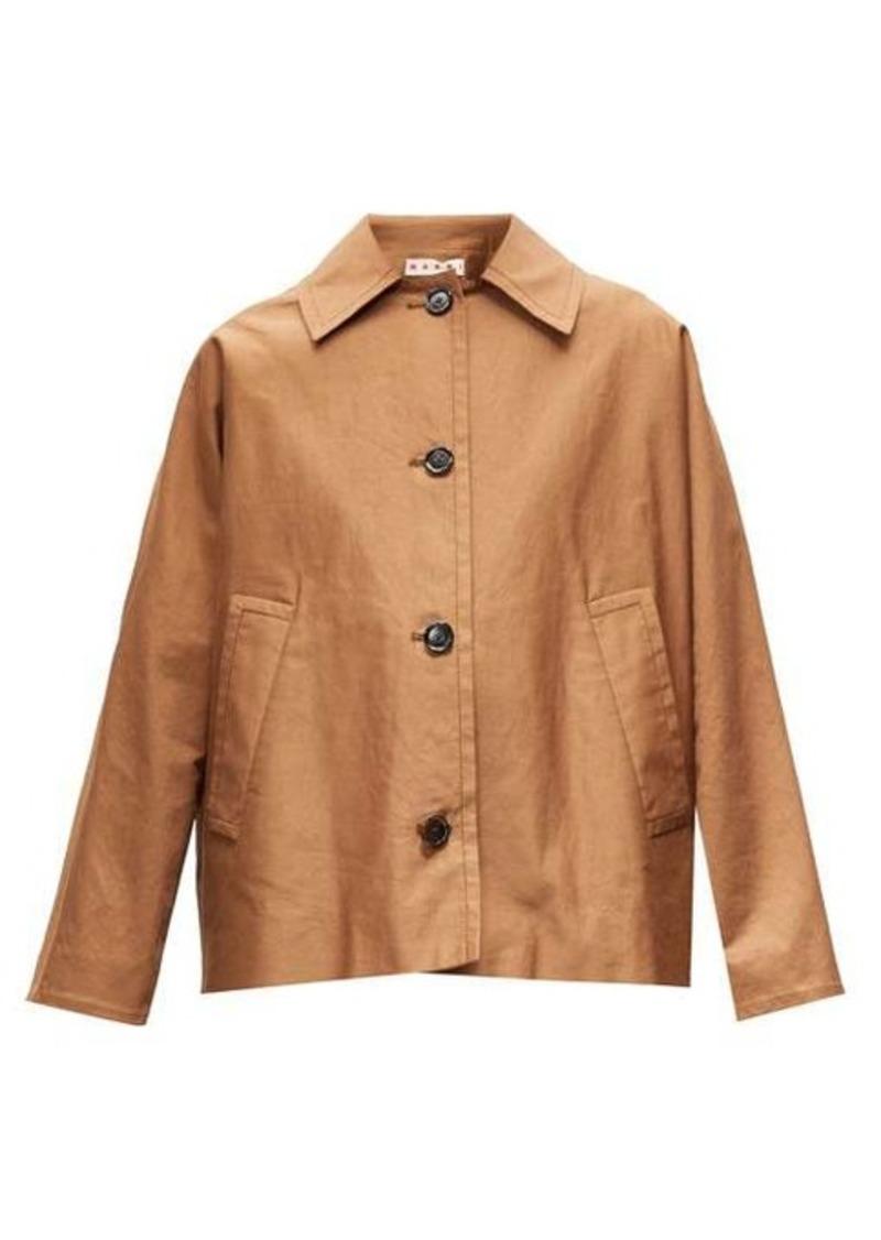 Marni Oversized gathered-yoke cotton-blend twill jacket