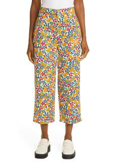 Marni Pop Garden Floral Print Wide Leg Crop Jeans