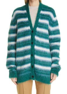 Marni Stripe Oversize Mohair Blend Cardigan