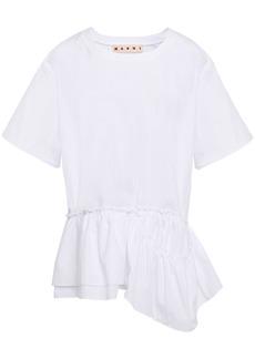 Marni Woman Asymmetric Cotton-poplin Peplum Top White
