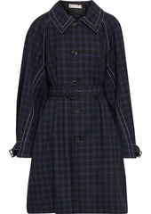 Marni Woman Belted Checked Wool-gabardine Coat Black