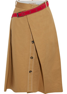 Marni Woman Belted Layered Cotton And Flax-blend Gabardine Skirt Camel