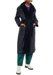Marni Woman Belted Shearling Coat Midnight Blue