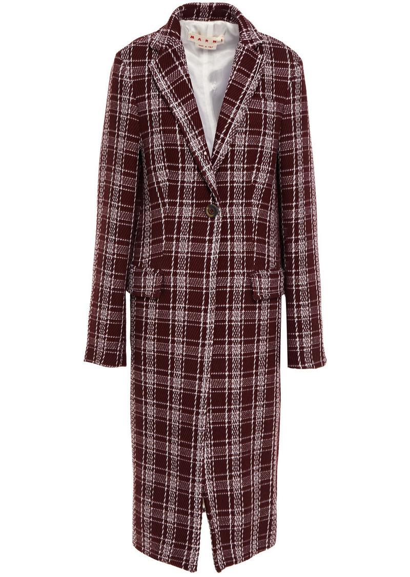 Marni Woman Checked Wool-blend Coat Burgundy