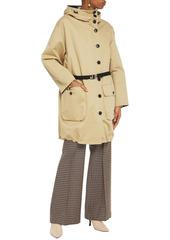 Marni Woman Cotton And Linen-blend Gabardine Hooded Coat Sand
