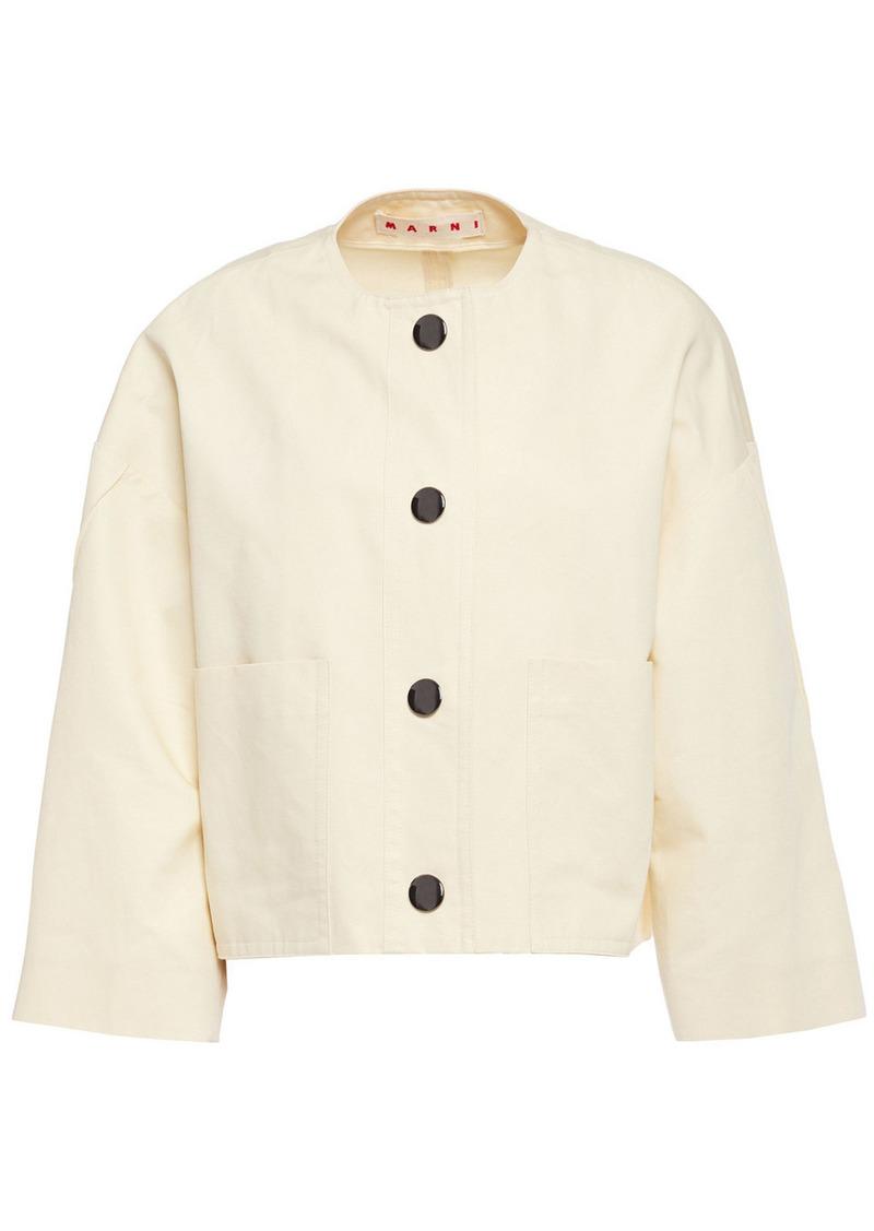 Marni Woman Cotton And Linen-blend Twill Jacket Cream