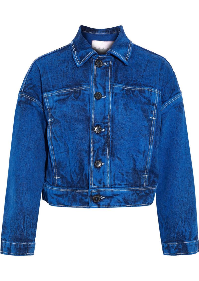 Marni Woman Cropped Acid-wash Denim Jacket Cobalt Blue