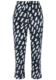 Marni Woman Cropped Printed Silk Crepe De Chine Tapered Pants Midnight Blue