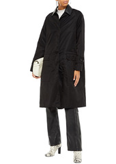 Marni Woman Faux Leather-trimmed Coated-shell Coat Black