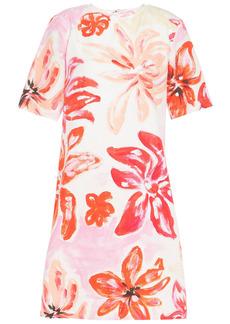 Marni Woman Floral-print Cotton And Silk-blend Mini Dress White