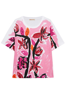 Marni Woman Floral-print Cotton-jersey T-shirt Pink