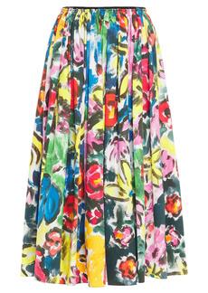 Marni Woman Gathered Floral-print Cotton-poplin Midi Skirt Multicolor