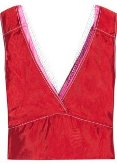 Marni Woman Mesh-trimmed Layered Satin-twill Top Crimson