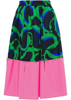 Marni Woman Paneled Printed Cotton-poplin Skirt Multicolor