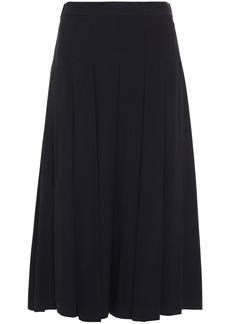 Marni Woman Pleated Crepe Midi Skirt Midnight Blue