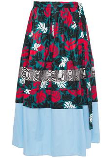 Marni Woman Poplin-paneled Printed Cotton And Linen-blend Midi Skirt Teal