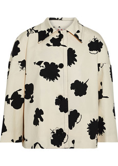 Marni Woman Printed Cotton And Linen-blend Drill Jacket Cream