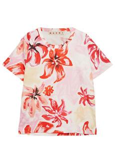 Marni Woman Printed Cotton And Silk-blend Poplin Top Pink