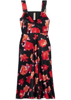 Marni Woman Ruched Printed Satin Midi Dress Black