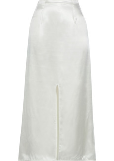 Marni Woman Split-front Satin Midi Skirt White