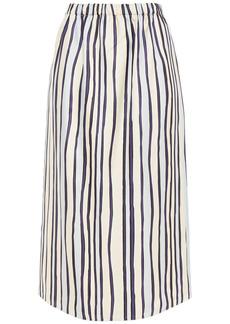 Marni Woman Striped Silk-twill Midi Skirt Ivory
