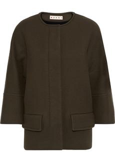Marni Woman Wool-blend Felt Jacket Army Green
