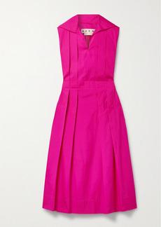 Marni Pleated Cotton-poplin Midi Dress