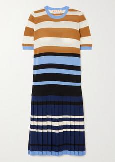 Marni Pleated Striped Wool Dress