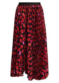 Marni Plissé Lipstick-Print Midi Skirt