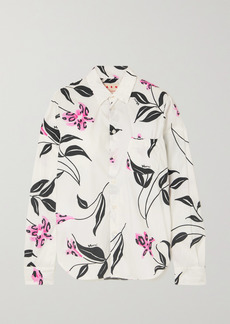 Marni Ruched Floral-print Cotton-poplin Shirt