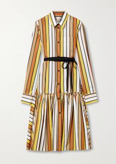 Marni Striped Cotton-poplin Midi Shirt Dress