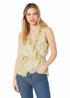 Max Studio Womens's Ruffle wrap top self Belt Cream/Yellow Daisy Sprinkles