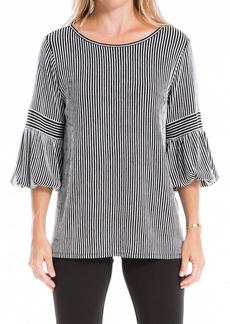 Max Studio Striped 3/4 Sleeve Tunic Top
