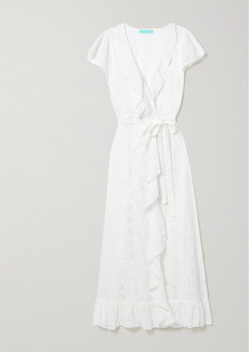 Melissa Odabash Brianna Belted Ruffled Broderie Anglaise Cotton Wrap Maxi Dress