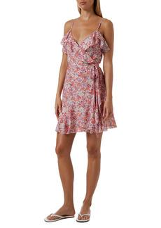 Melissa Odabash Simona Floral Metallic Cover-Up Wrap Dress