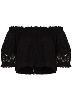 Melissa Odabash off-shoulder embroidered cropped blouse