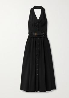 Michael Kors Belted Cotton-blend Poplin Halterneck Midi Dress