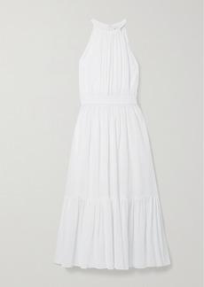 Michael Kors Cotton And Silk-blend Crepon Halterneck Midi Dress