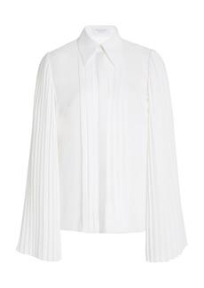 Michael Kors Collection - Women's Pleated Silk-Georgette Blouse - White - Moda Operandi