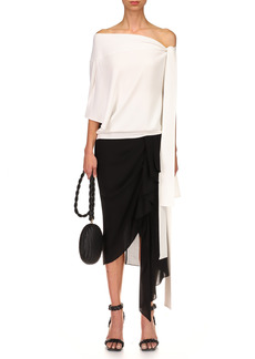 Michael Kors Collection - Women's Silk Side-Drape Sarong Skirt - Black - Moda Operandi