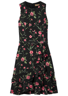 Michael Kors Collection Woman Belted Ruffle-trimmed Floral-print Crepe Mini Dress Black