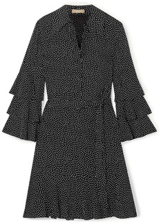 Michael Kors Collection Woman Belted Tiered Polka-dot Silk-crepe Mini Dress Black