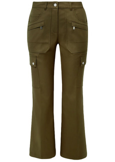 Michael Kors Collection Woman Cotton-twill Flared Pants Army Green