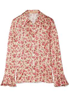 Michael Kors Collection Woman Floral-print Silk-jacquard Blouse Blush
