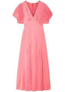 Michael Kors Collection Woman Gathered Crinkled-satin Midi Dress Bubblegum